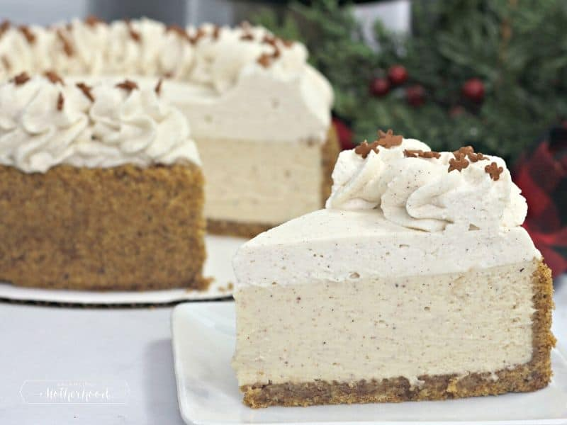 gingerbread cheesecake on white plate