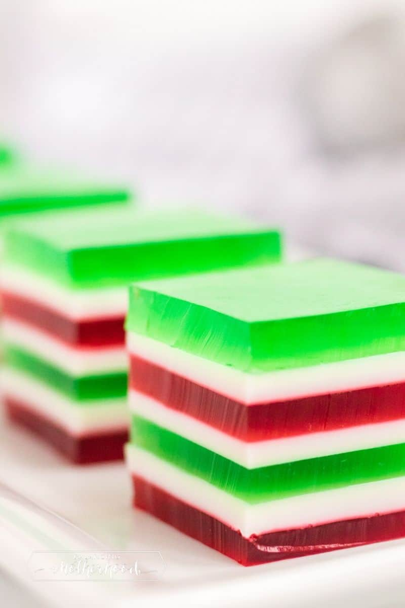 red, green, and white layered jello squares
