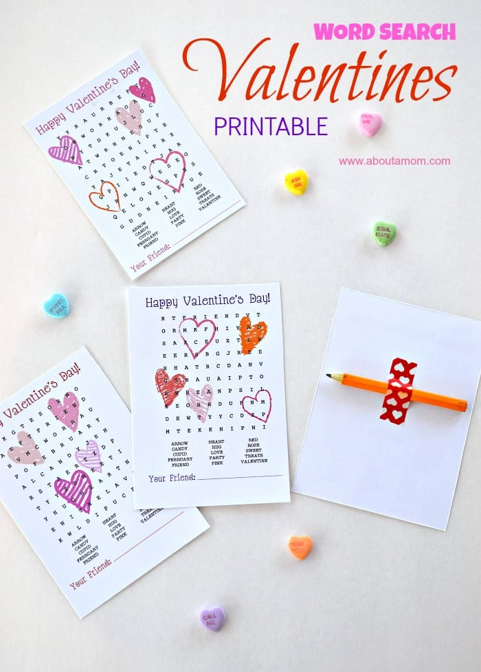 Word Search Printable Valentines