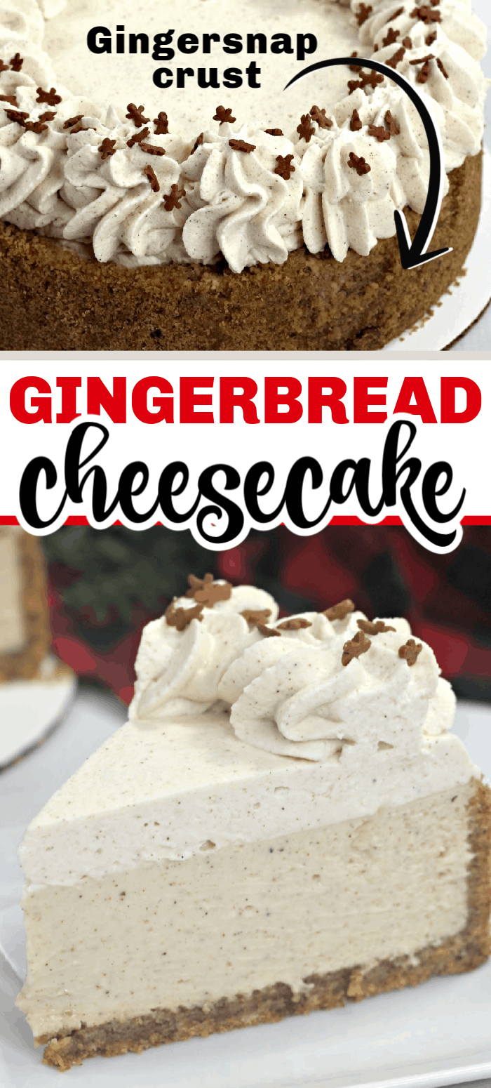 This Instant Pot Gingerbread Cheesecake takes all the flavors you love from a traditional gingerbread cookie and combines them into a simple Instant pot cheesecake. With less than 15 minutes of prep in the kitchen you will have a delicious holiday dessert to share with your family and friends. #instantpotcheesecake #instantpotdessert #instantpot #cheesecake #gingerbread #gingersnaps #dessert #christmas #christmasdessert