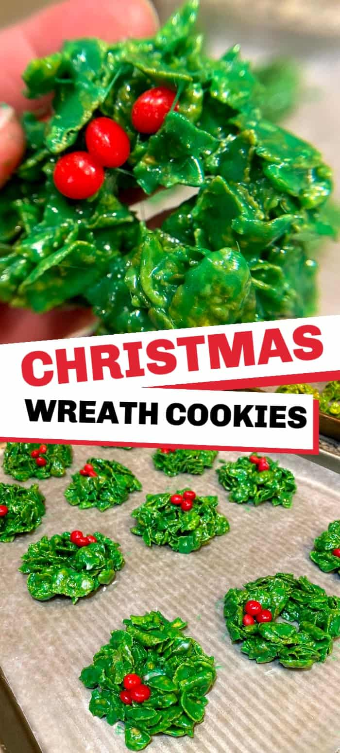 Christmas wreath cookies are an incredibly easy Christmas cookie with just six simple ingredients! It's like a rice crispy treat with corn flakes and marshmallows and bright green color that stands out at any Christmas cookie exchange!
