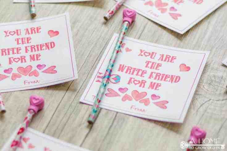 Free Printable Heart Valentine Cards To Give With Pencils