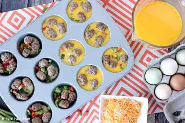 Easy Mini Omelette Recipe With Sausage Egg & Veggies! Freeze Them For Easy Breakfasts!