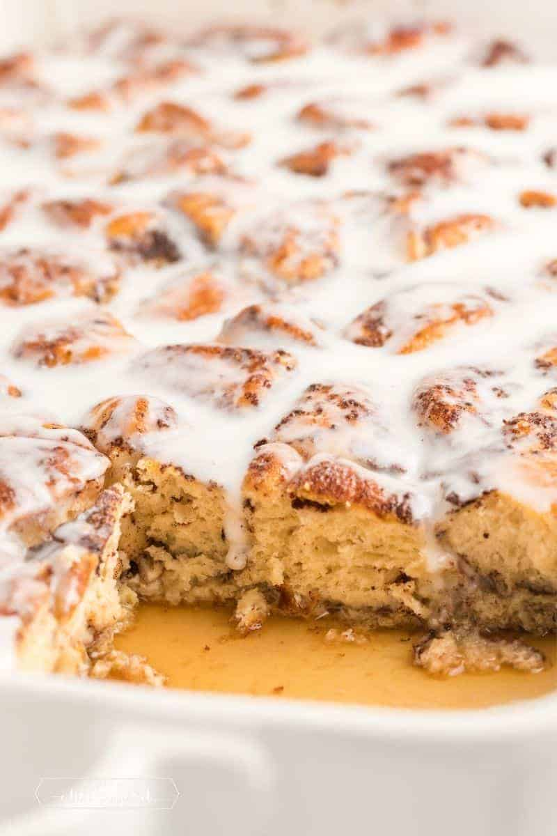 inside of cinnamon roll casserole with maple syrup