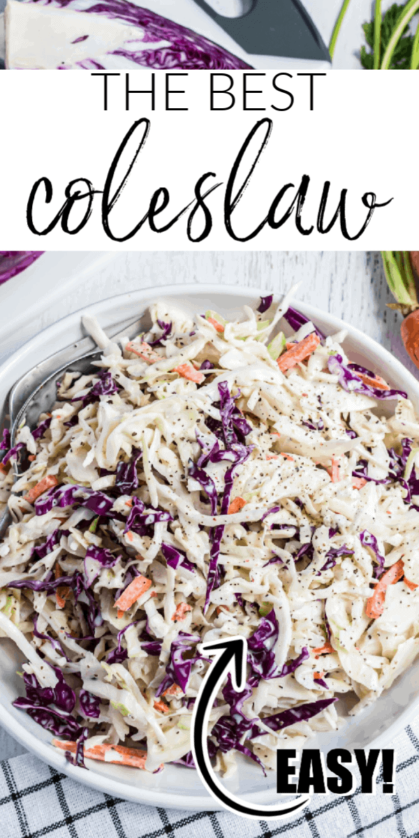 Coleslaw is a great, easy side dish that you can make ahead of time. Crisp and colorful cabbage is paired with a perfectly seasoned creamy coleslaw dressing. It's perfect as a side dish for a weeknight meal and a must-have picnic dish!