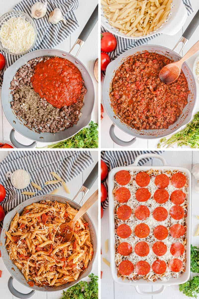 step by step instructions to make pizza casserole