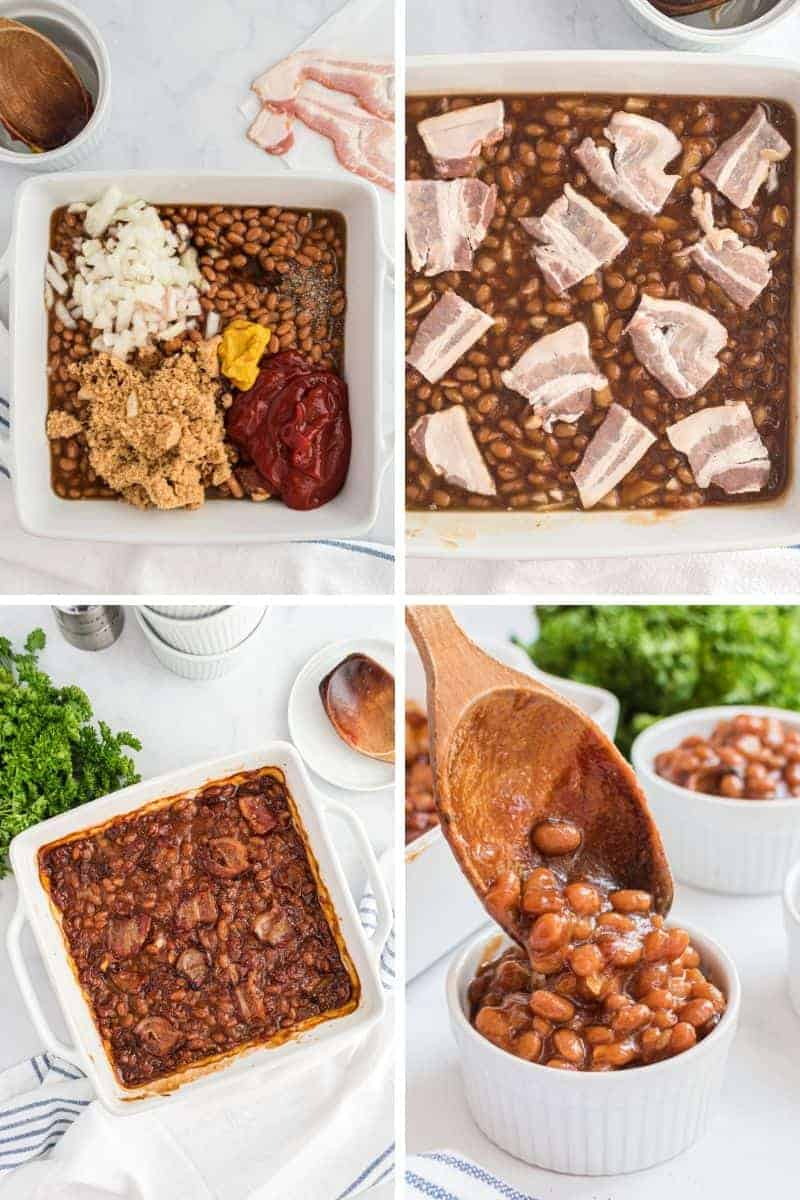 baked beans in dish with onion, brown sugar, mustard, and ketchup.