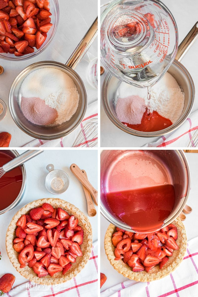Making strawberry gelatin and pouring on top of sliced strawberries.