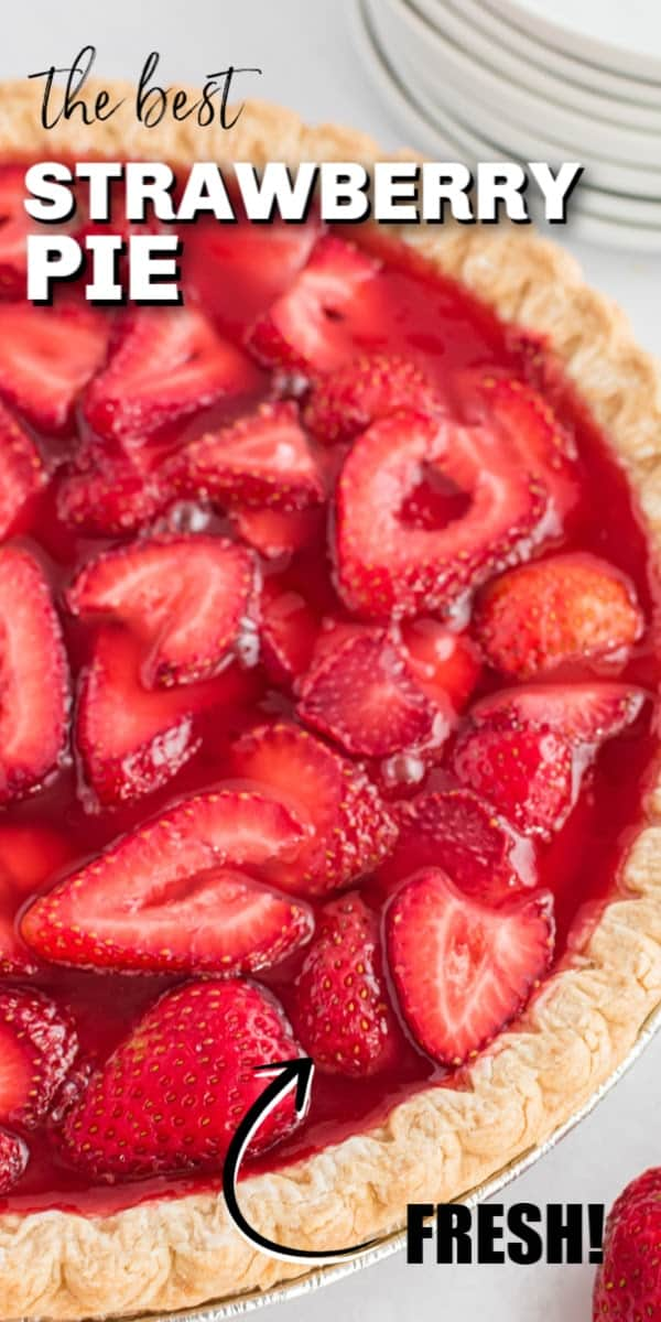 Strawberry pie is full of fresh, flavorful strawberries combined with strawberry Jell-o and topped with whipped cream, all in a buttery pie crust. It's the perfect spring or summer pie that's so beautiful as it tastes!