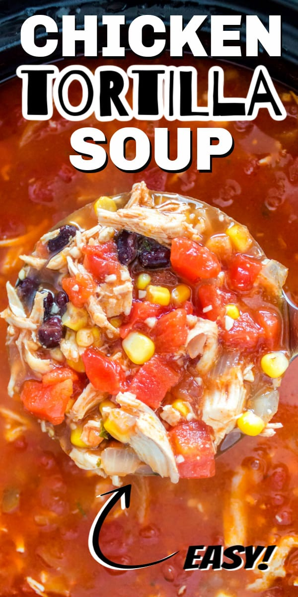 Chicken tortilla soup is a Mexican, tomato-based soup filled with chicken, beans, corn, and topped with fried tortilla strips. It's full of flavor and makes a great meal on a cool night.