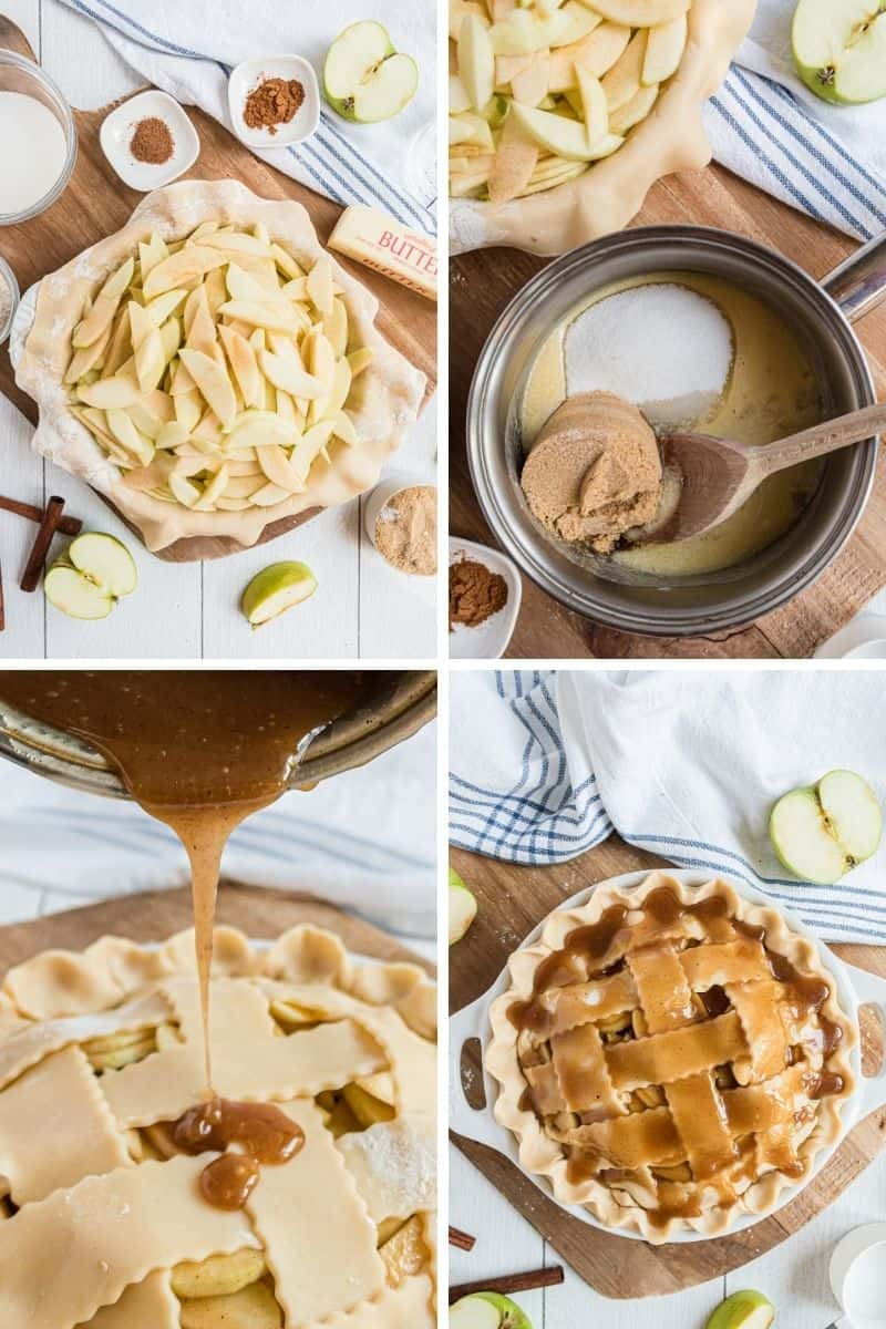 steps to make apple pie: apples in pie pan, top with crust, pour caramel on top