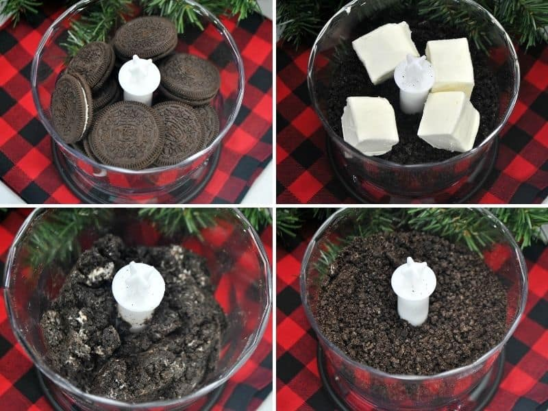 Steps to make Oreo truffles: place Oreos in food processor, add cream cheese, pulse to incorporate, continue to pulse until it resembled fine sand
