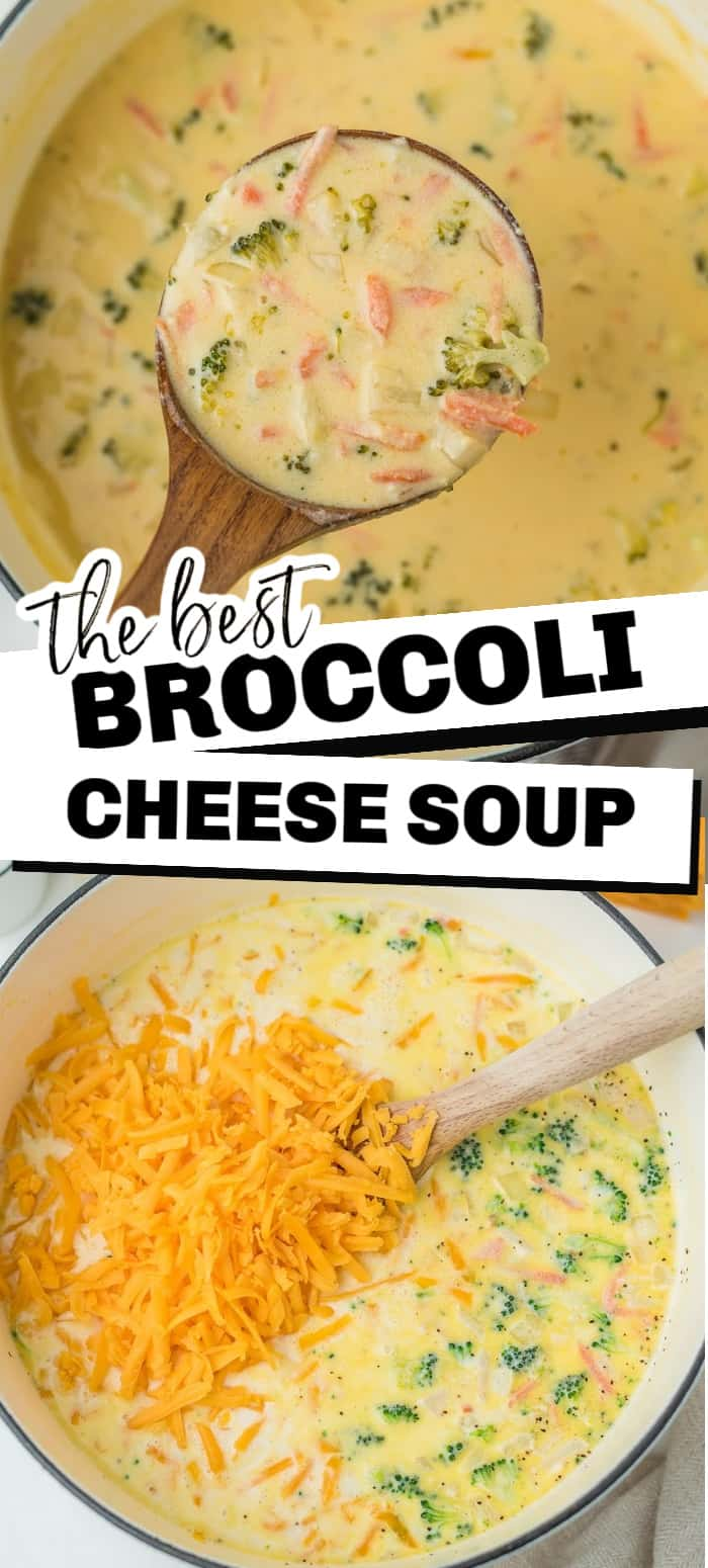 This delicious Broccoli Cheese Soup is certain to warm your stomach and your tastebuds! Filled with wonderful fresh ingredients like shredded cheese, broccoli, carrots, and more, every bite of this soup will be loaded down with healthy veggies and taste.