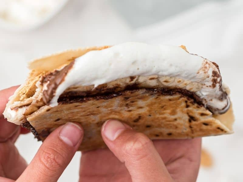 s'mores tortilla folded with marshmallows melting out