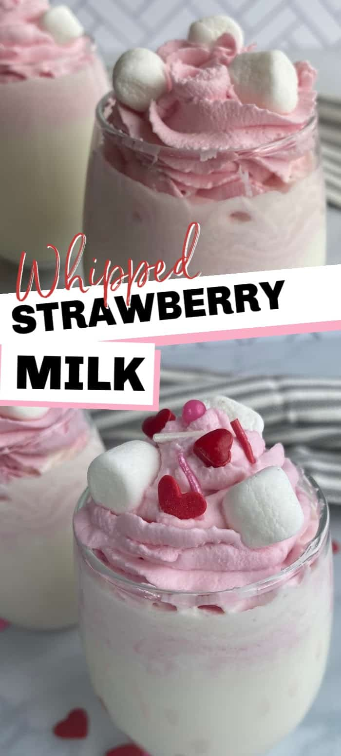 Whipped Strawberry Milk is a fun and pretty drink that kids and adults love! It's easy to make with strawberry powder, heavy whipping cream, and a glass of milk!