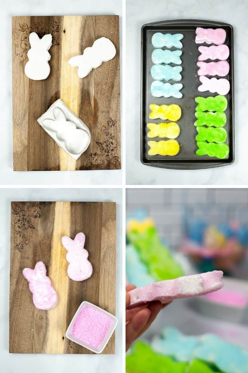 steps to make peeps: cut marshmallow shapes, add crystalized sugar,