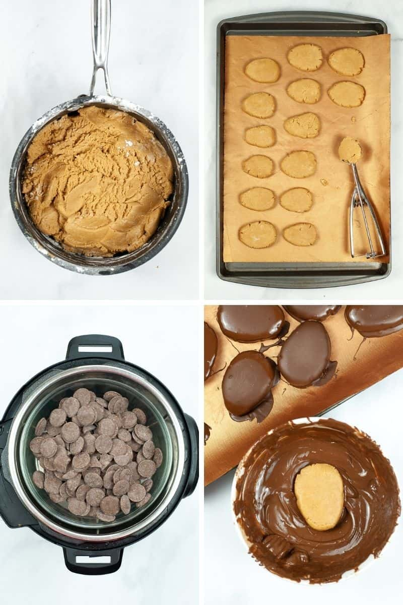 mix peanut butter mixture, shape on cookie sheet, melt chocolate in Instant Pot, dip peanut butter egg in melted chocolate
