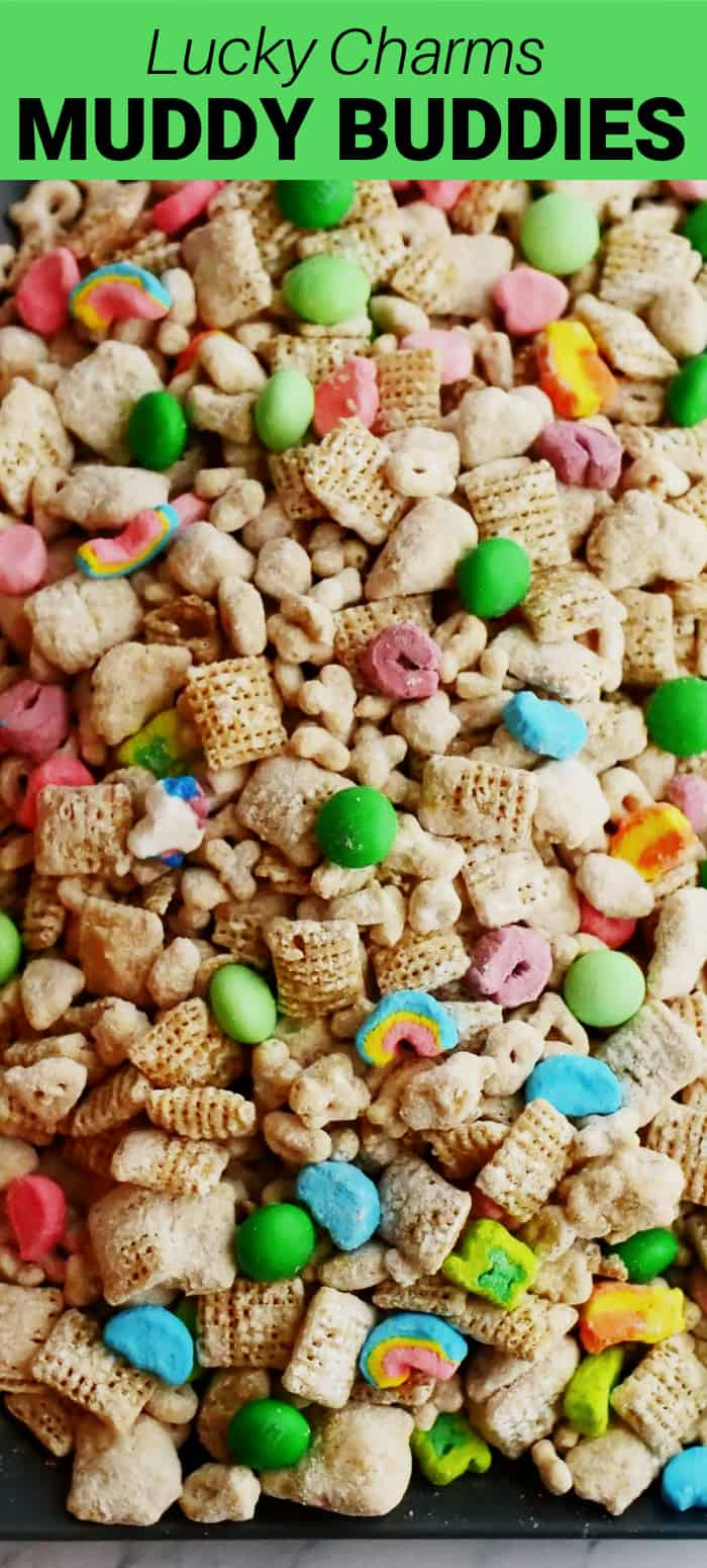Lucky Charms Muddy Buddies is a fun sweet treat for St. Patrick's Day or any time you want a little, fun treat made with cereal, chocolate, powdered sugar, and peanut butter.
