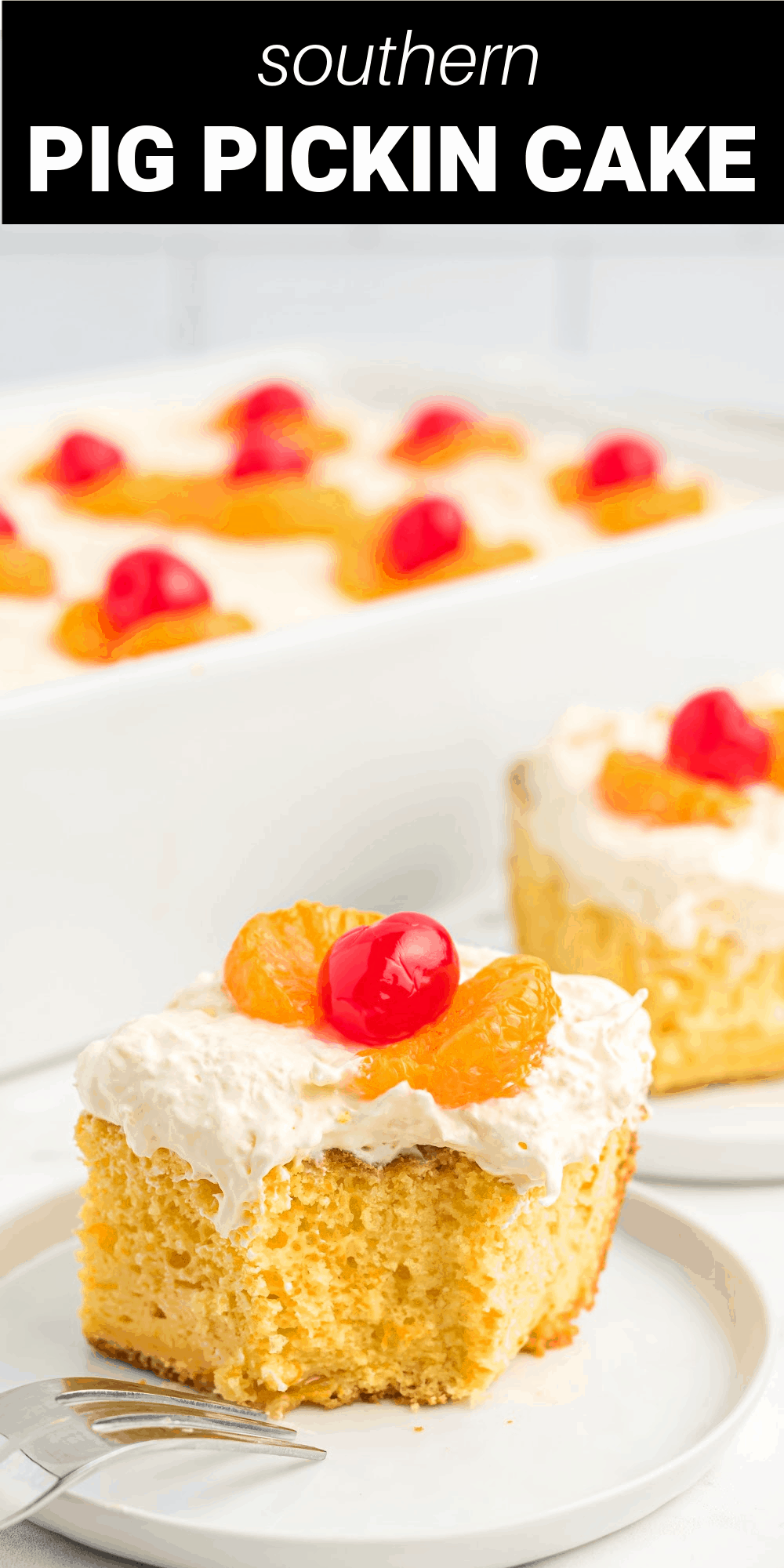 Pig Pickin Cake is a classic moist and delicious mandarin orange cake that's topped with a whipped cream and crushed pineapple frosting making it a light and refreshing dessert that's perfect for summer barbeques, family reunions, and the Fourth of July.