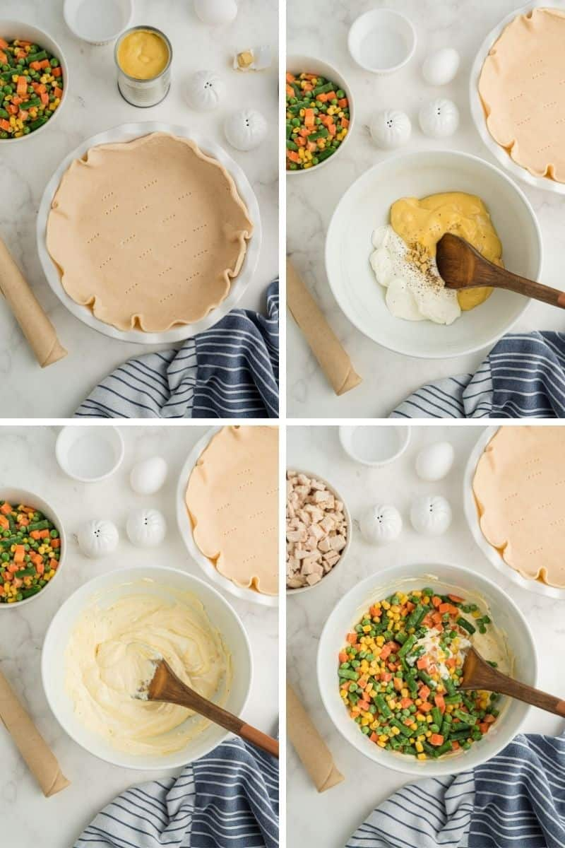 four steps: pie crust in pie dish, mix soup and sour cream with bouillon cube, mix with wooden spoon, add vegetables