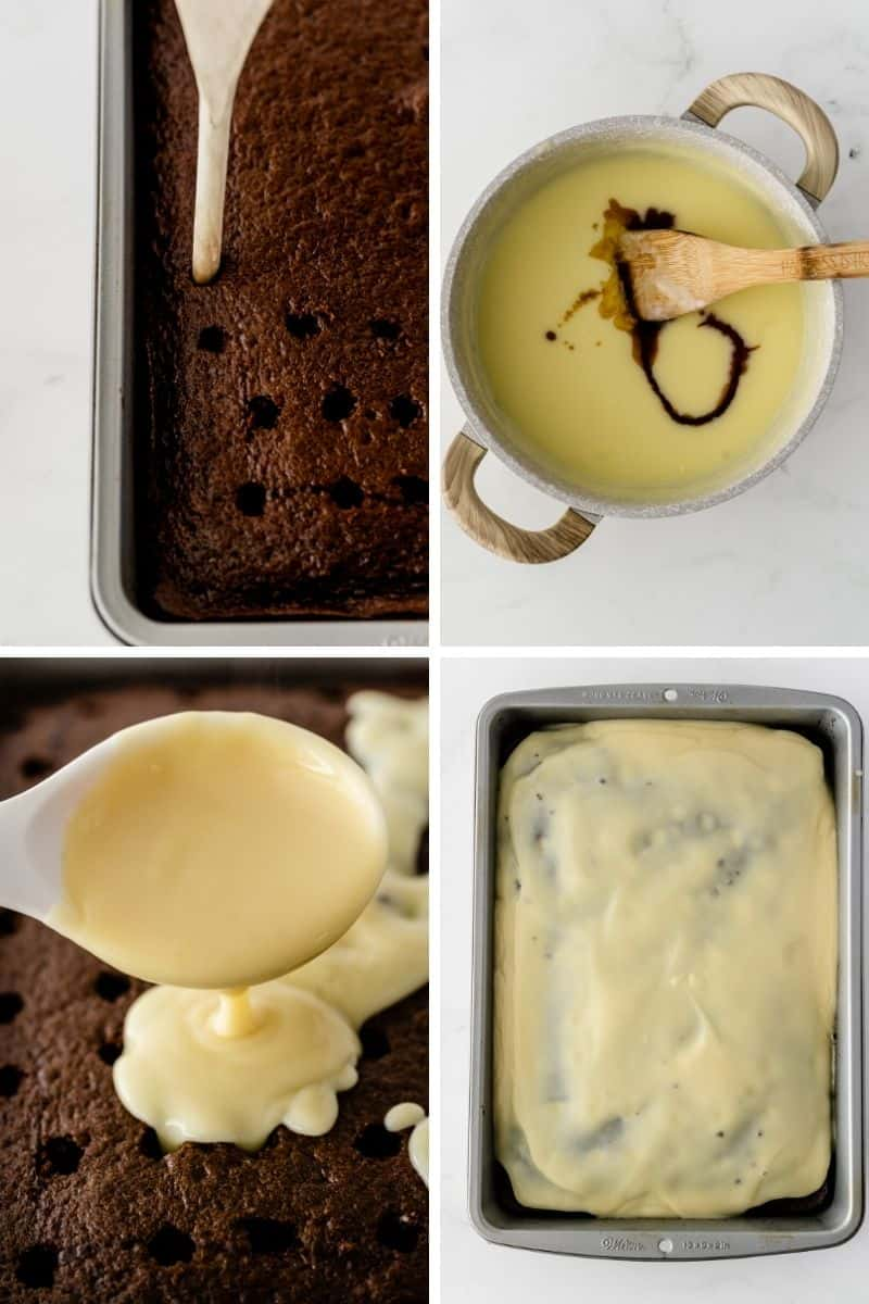 four process pictures: poking holes in cake with back of wooden spoon, mixing pudding together, pouring pudding onto top of chocolate cake, spread pudding over top of cake