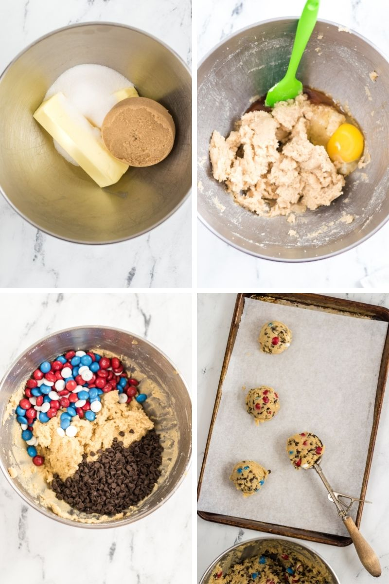 cream sugars, add egg, add red, white, blue m&ms, add chocolate chips; ice cream scoop putting scoops of dough on cookie sheet
