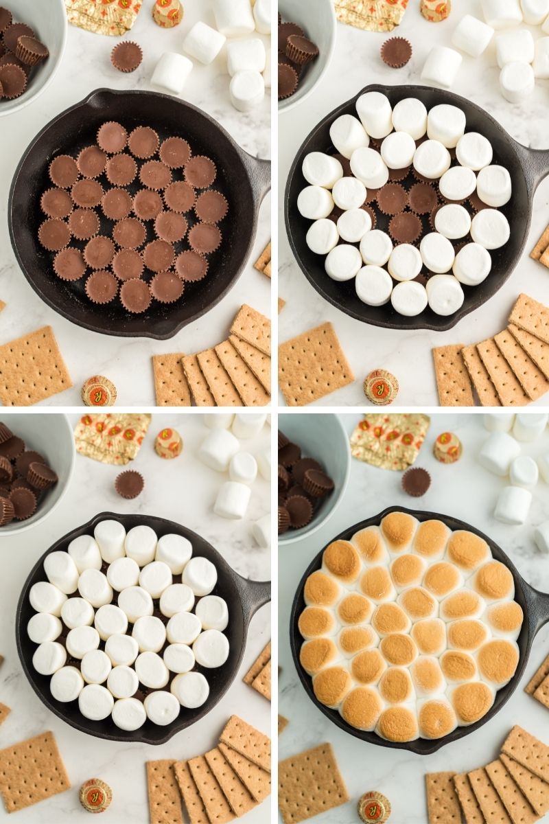 four process photos in cast iron skillet: 1. layer of unwrapped reese's, 2. added two rows of marshmallows, 3. covered reese's with marshmallows, 4. after it's been cooked, golden marshmallows