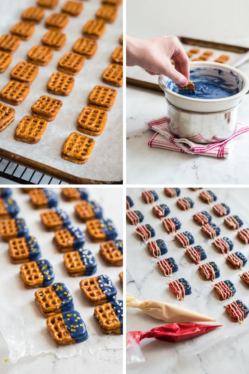 four photos: cooled pretzels; bowl of melted blue candy melts with hand dipping pretzel into it; pretzels with blue tops and gold star sprinkles on them on tray; added red and white candy drizzles on bottom part of pretzels