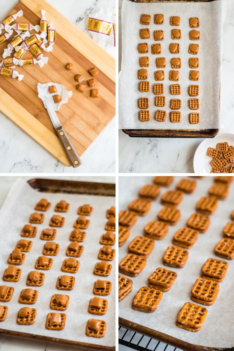 four photos: unwrapping caramels on cutting board; putting pretzel on baking sheet; adding caramels on top of pretzels; topping each caramel with another square pretzel