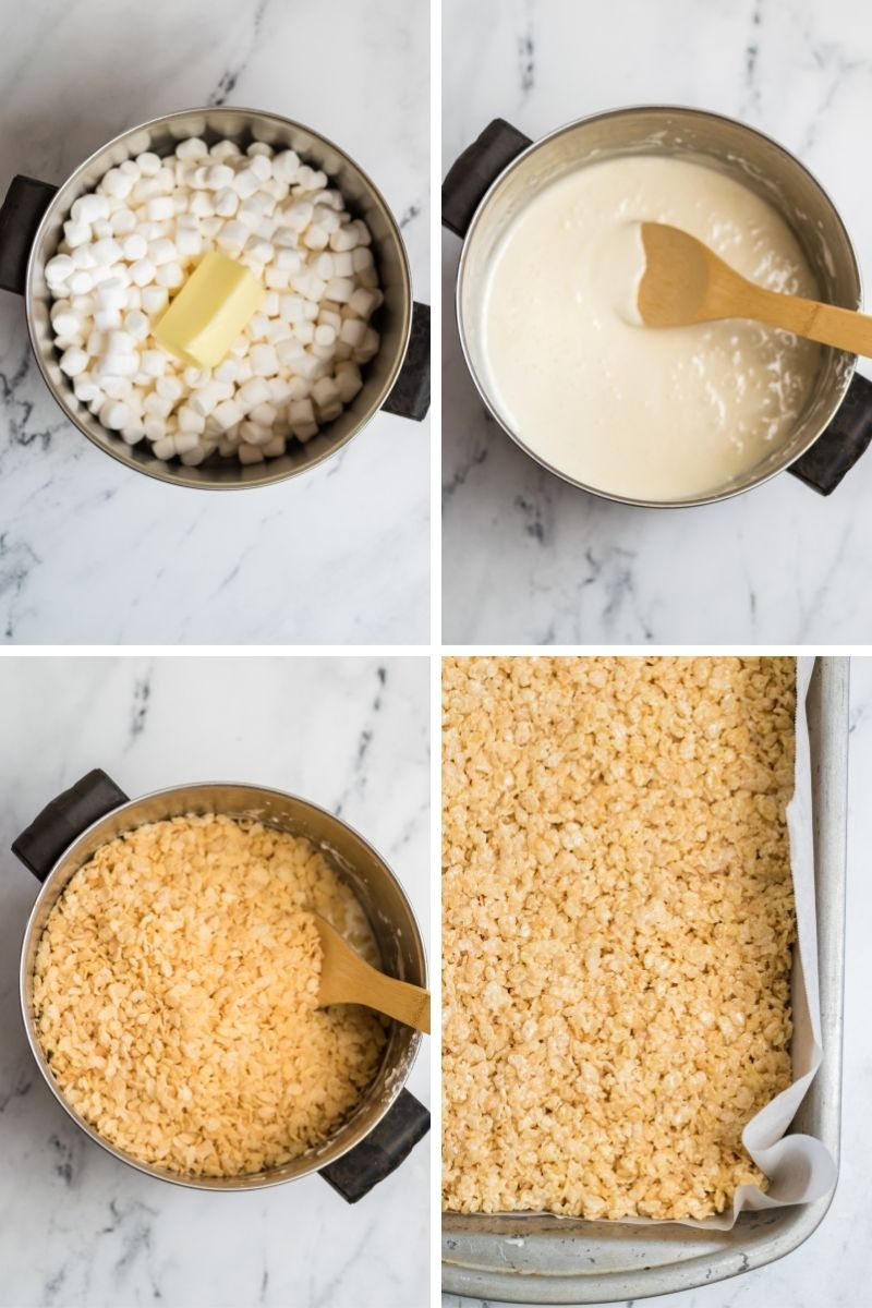 four photos: sauce pan with marshmallows and butter; melted marshmallows with wooden spoon; rice krispies cereal in pan; jelly roll pan with rice krispies treats spread flat