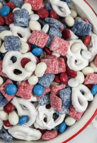 white pretzels with red and blue coated cereal and red, white, and blue M&Ms