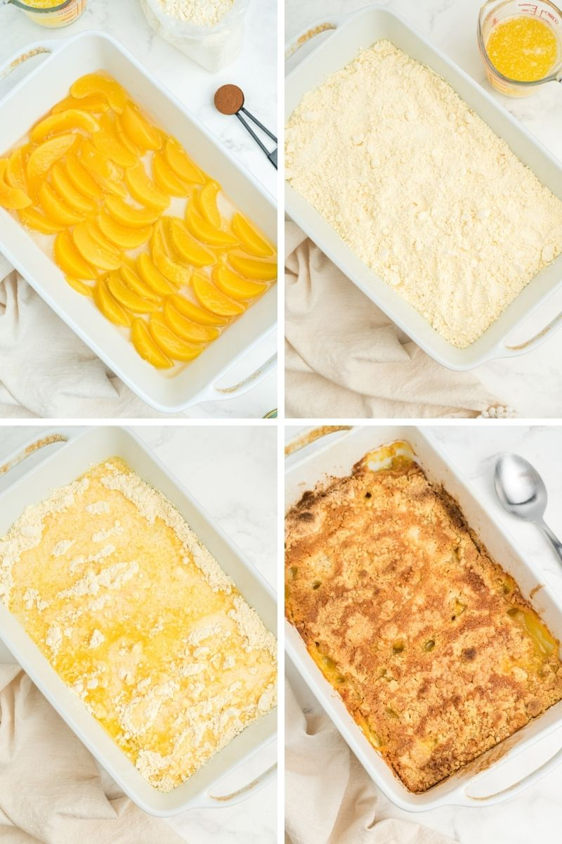 four photos in white casserole dish: peaches on bottom; cake mix layer; butter layer; cooked dump cake