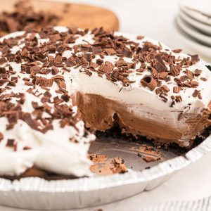 chocolate pie with slice out