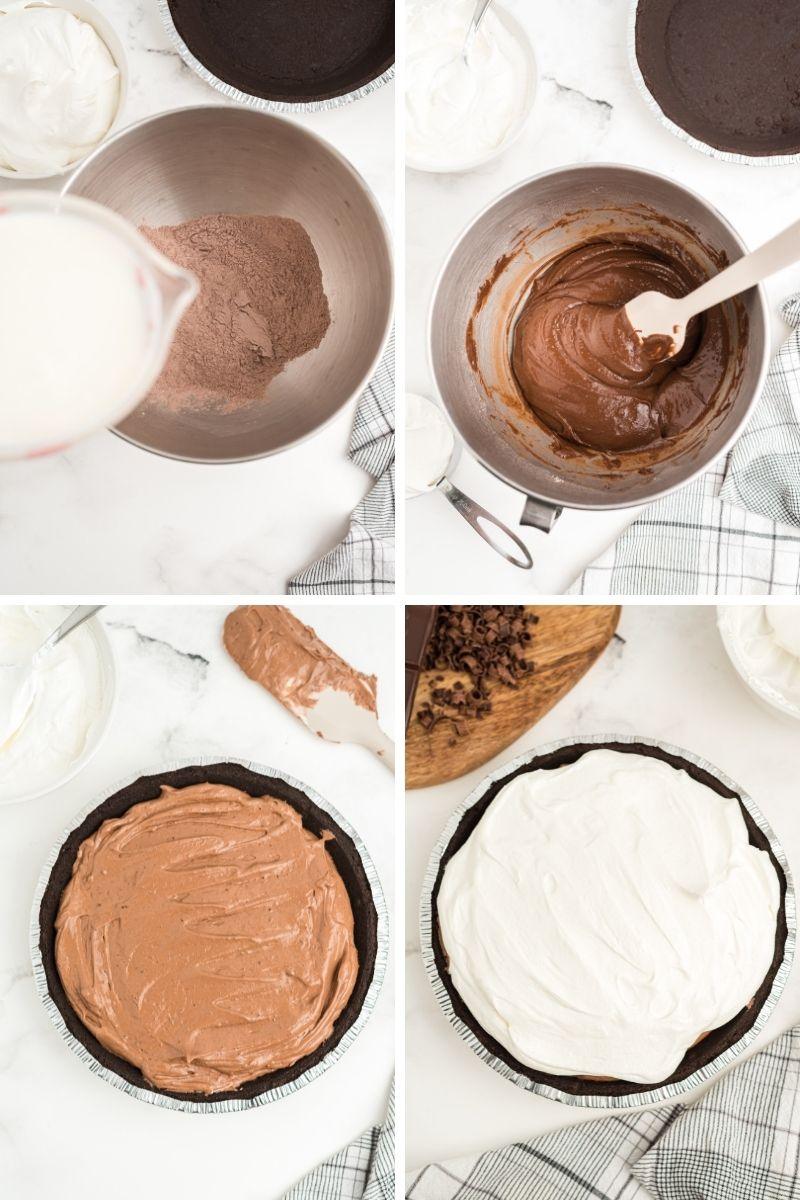 four photos: pouring milk into mixing bowl; stirring chocolate pudding; pudding in Oreo crust; topped with Cool Whip