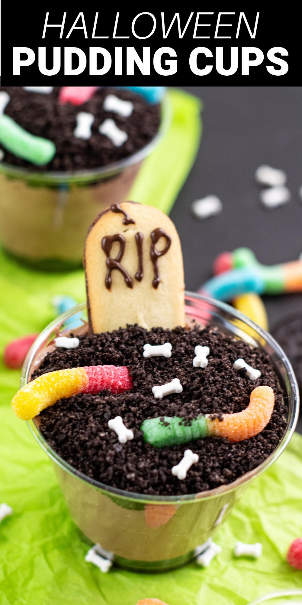 Graveyard Dirt Cups are a fun dessert perfect for a Halloween party or a silly treat at home. These pudding cups are filled with crushed Oreos, chocolate pudding, Cool Whip, and fun treats on top.