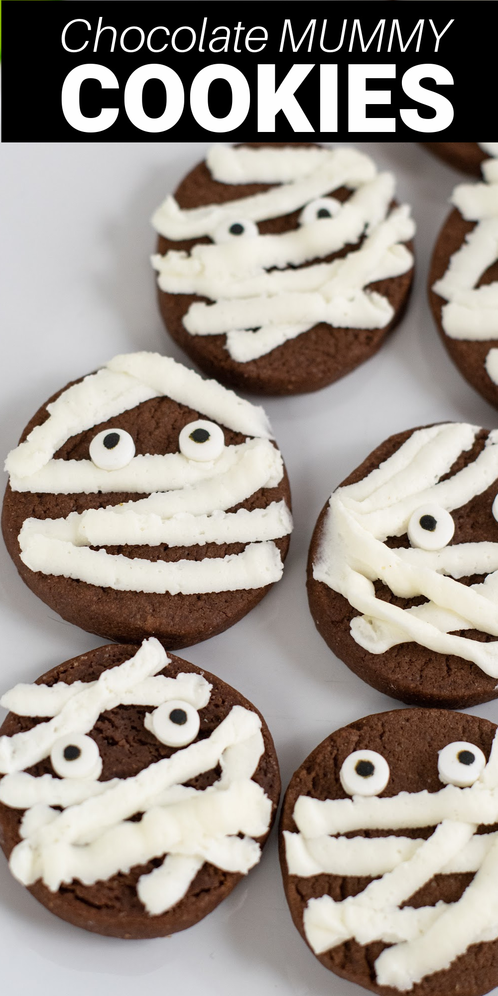 These mummy cookies are as easy to make as they are cute! The chewy chocolate cookie base is topped with strips of creamy buttercream frosting making the cutest Halloween treats.