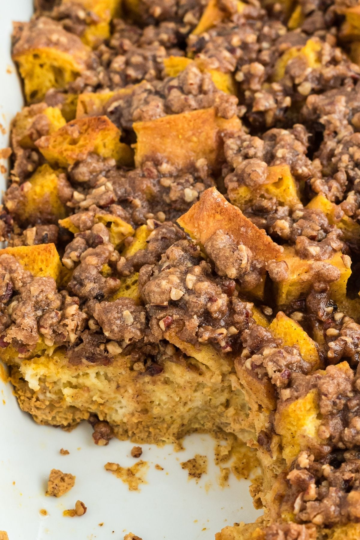 close up of baked casserole with a slice removed