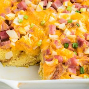 close up of baked ham and cheese casserole showing the bread on the inside