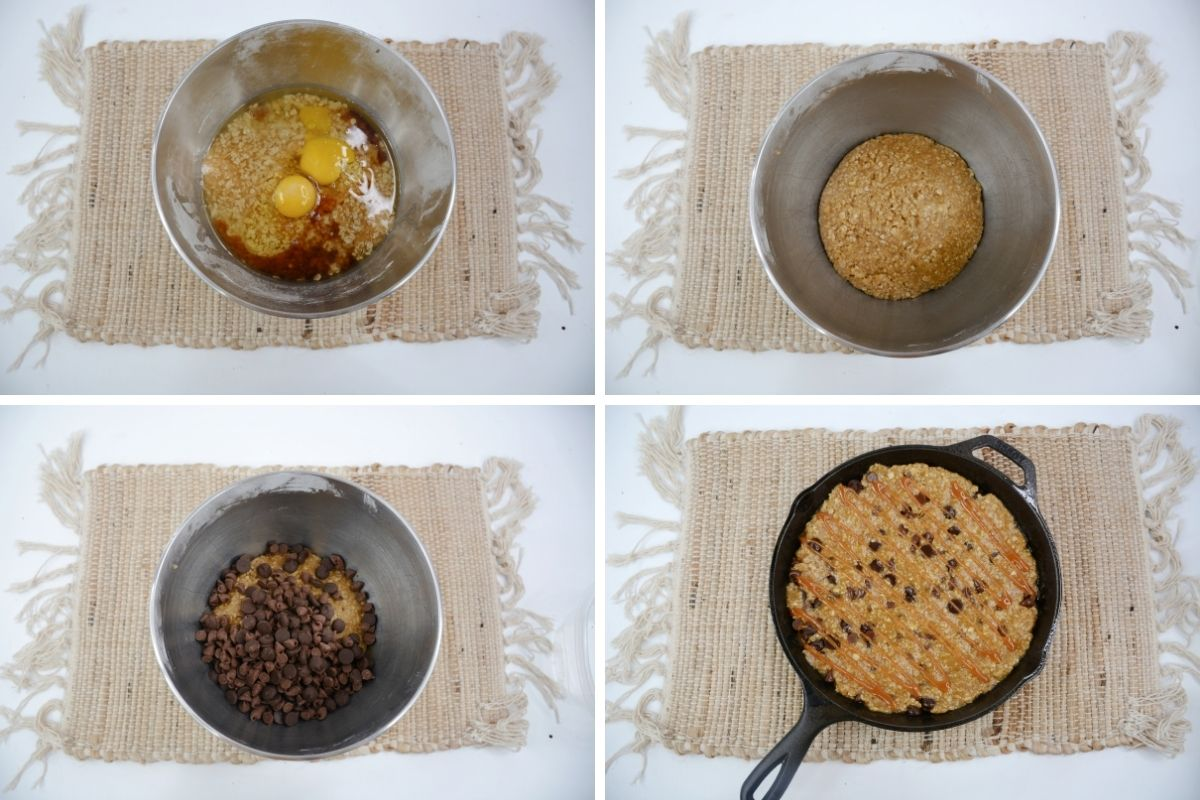 four photos: ingredients with eggs in bowl; dough mixed together; chocolate chips on top of dough; dough in cast iron pan with caramel drizzle