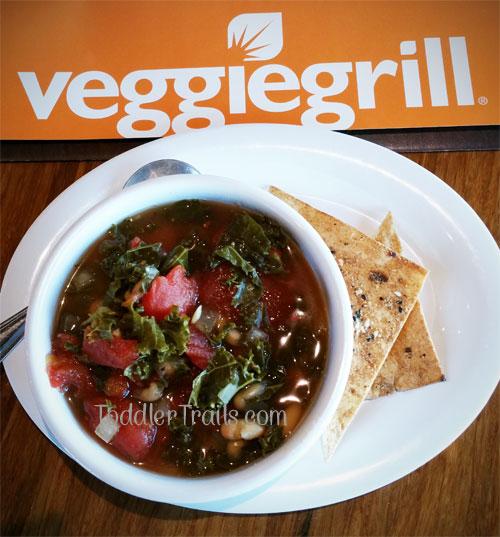 Toddler Trails, White Bean Braise Soup, Veggie Grill, Mindful Living Menu