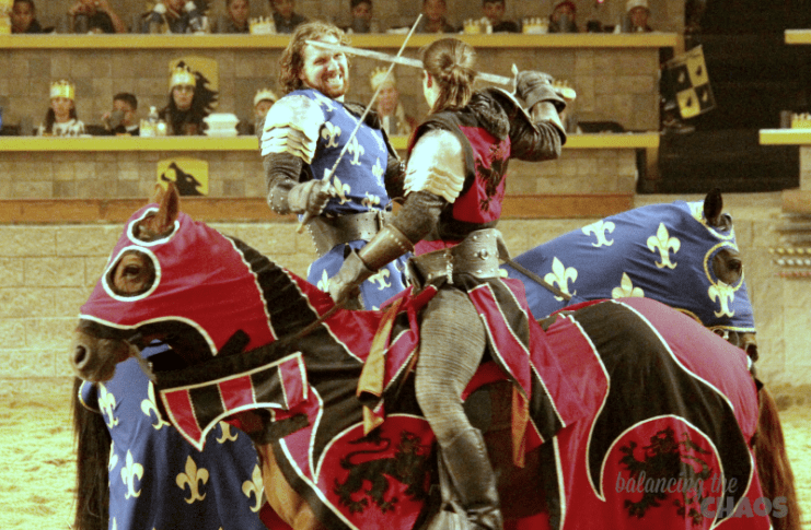 Knights in combat at Medieval Times