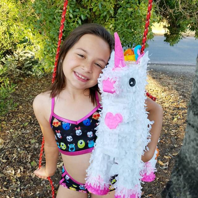 The birthdaygirl and her unicorn pinata thisis8 birthdayfun santeelakes travelhellip