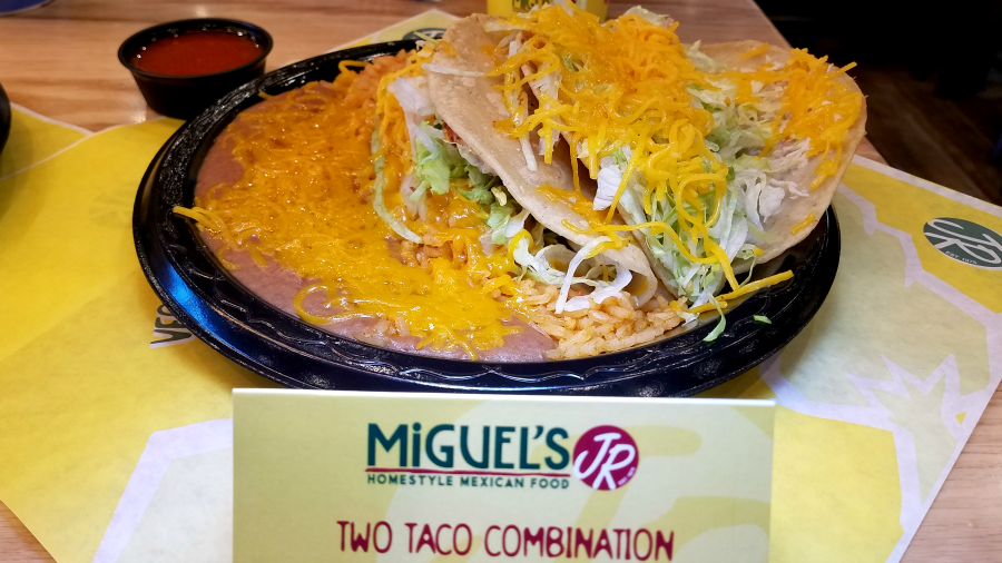 Miguel's Jr Two Taco Combination with Rice and Beans