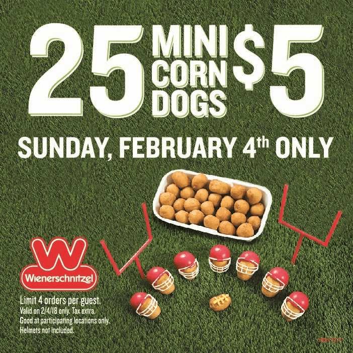 Wienerschnitzel Game Day Deal 25 Mini Corn Dogs for $5