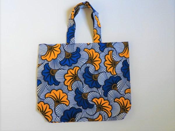 Tote Bag En Wax Fleurs De Mariage bleu