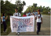 Students Walk for Peace early in the morning of September 21, 2012.