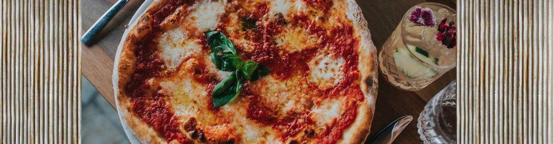 Balboa Italian Palm Beach Gold Coast Menu with Pizza and Cocktail