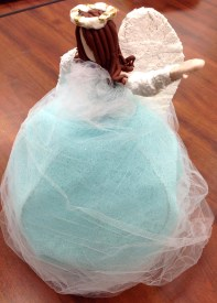 Angel made from plaster of paris, tulle, sculpy