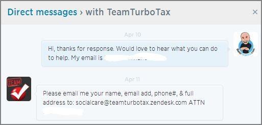 Power of Twitter - TurboTax response DM