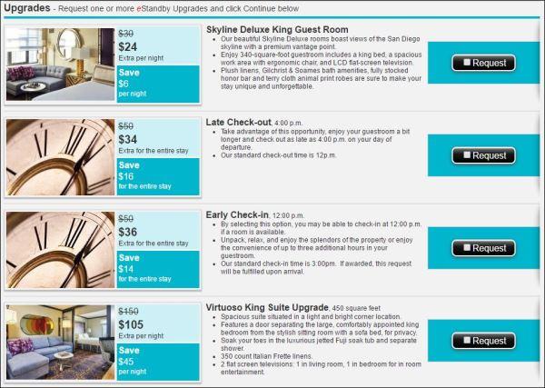 Kimpton Solamar San Diego 2016-06 upgrade options
